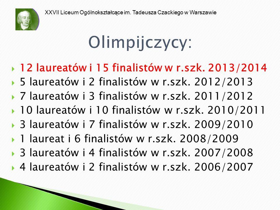XXVII Liceum Ogólnokształcące im. Tadeusza Czackiego w Warszawie Olimpijczycy:  12 laureatów i 15 finalistów w r.szk. 2013/2014  5 laureatów i 2 fin