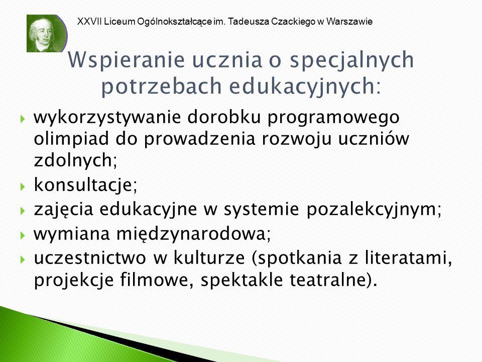 XXVII Liceum Ogólnokształcące im. Tadeusza Czackiego w Warszawie Wspieranie ucznia o specjalnych potrzebach edukacyjnych:  wykorzystywanie dorobku pr