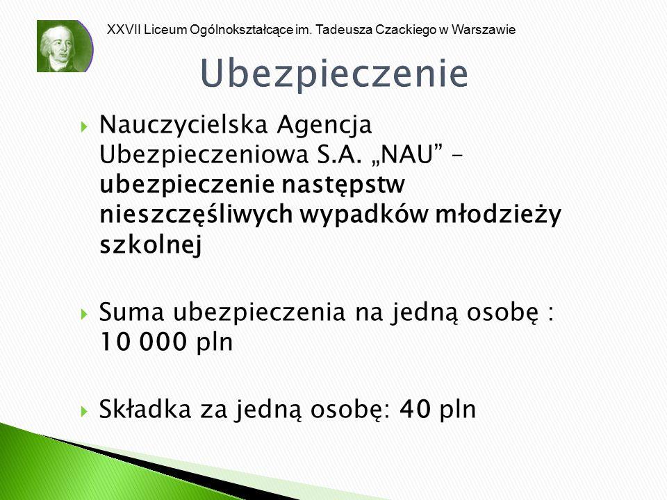 """XXVII Liceum Ogólnokształcące im. Tadeusza Czackiego w Warszawie Ubezpieczenie  Nauczycielska Agencja Ubezpieczeniowa S.A. """"NAU"""" – ubezpieczenie nast"""