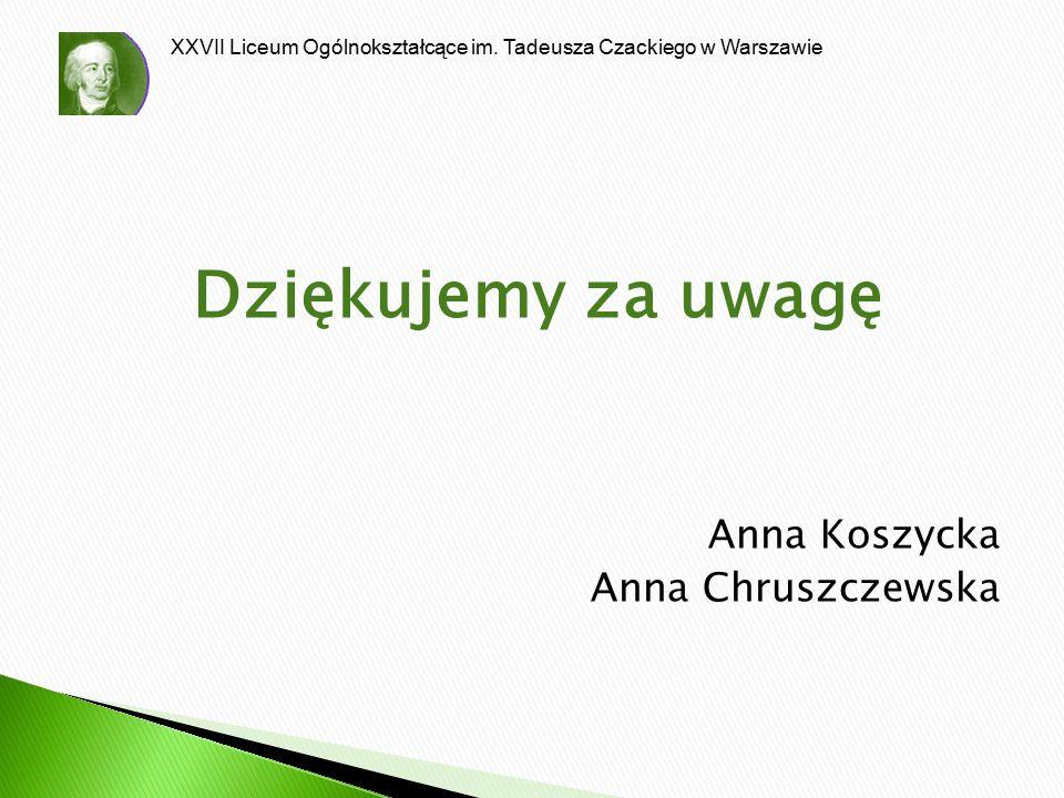 XXVII Liceum Ogólnokształcące im. Tadeusza Czackiego w Warszawie Dziękujemy za uwagę Anna Koszycka Anna Chruszczewska