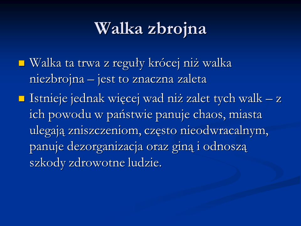 Walki niezbrojne w historii - przykłady Również polscy muzycy musieli ukrywać zamiłowanie do utworów polskich kompozytorów – w podziemiu muzycznym koncertował m.in.