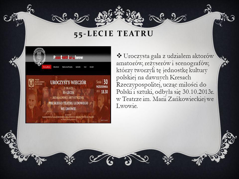 55-LECIE TEATRU  Uroczysta gala z udziałem aktorów amatorów, reżyserów i scenografów, którzy tworzyli tę jednostkę kultury polskiej na dawnych Kresac