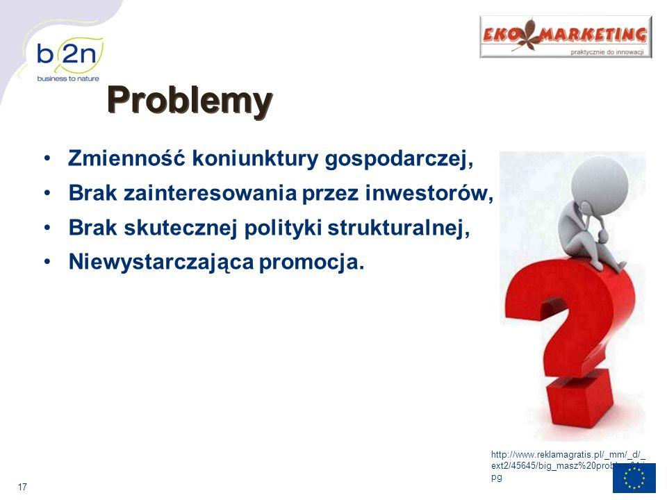 17 Problemy Zmienność koniunktury gospodarczej, Brak zainteresowania przez inwestorów, Brak skutecznej polityki strukturalnej, Niewystarczająca promocja.