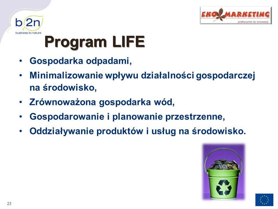 23 Gospodarka odpadami, Minimalizowanie wpływu działalności gospodarczej na środowisko, Zrównoważona gospodarka wód, Gospodarowanie i planowanie przestrzenne, Oddziaływanie produktów i usług na środowisko.