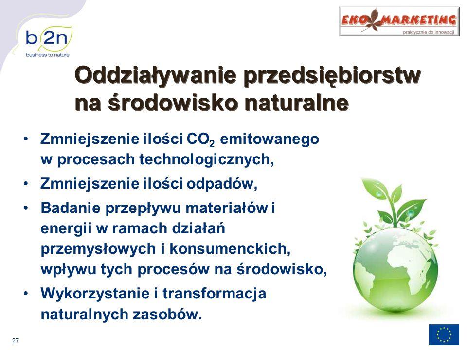 27 Zmniejszenie ilości CO 2 emitowanego w procesach technologicznych, Zmniejszenie ilości odpadów, Badanie przepływu materiałów i energii w ramach działań przemysłowych i konsumenckich, wpływu tych procesów na środowisko, Wykorzystanie i transformacja naturalnych zasobów.