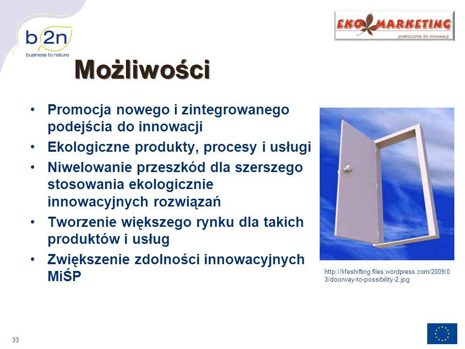 33 Możliwości Promocja nowego i zintegrowanego podejścia do innowacji Ekologiczne produkty, procesy i usługi Niwelowanie przeszkód dla szerszego stosowania ekologicznie innowacyjnych rozwiązań Tworzenie większego rynku dla takich produktów i usług Zwiększenie zdolności innowacyjnych MiŚP http://lifeshifting.files.wordpress.com/2009/0 3/doorway-to-possibility-2.jpg