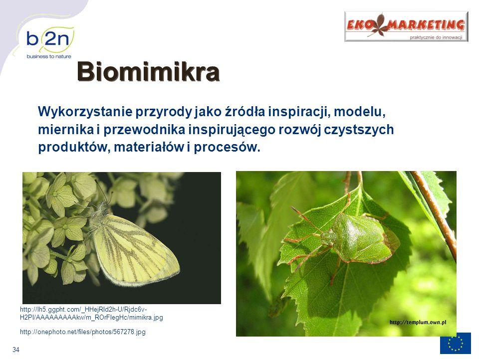 34 Biomimikra Wykorzystanie przyrody jako źródła inspiracji, modelu, miernika i przewodnika inspirującego rozwój czystszych produktów, materiałów i procesów.