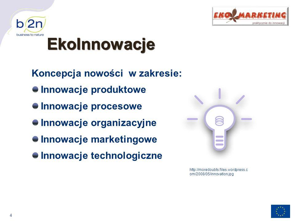 4 EkoInnowacje Koncepcja nowości w zakresie: Innowacje produktowe Innowacje procesowe Innowacje organizacyjne Innowacje marketingowe Innowacje technologiczne http://moredoubts.files.wordpress.c om/2008/05/innovation.jpg