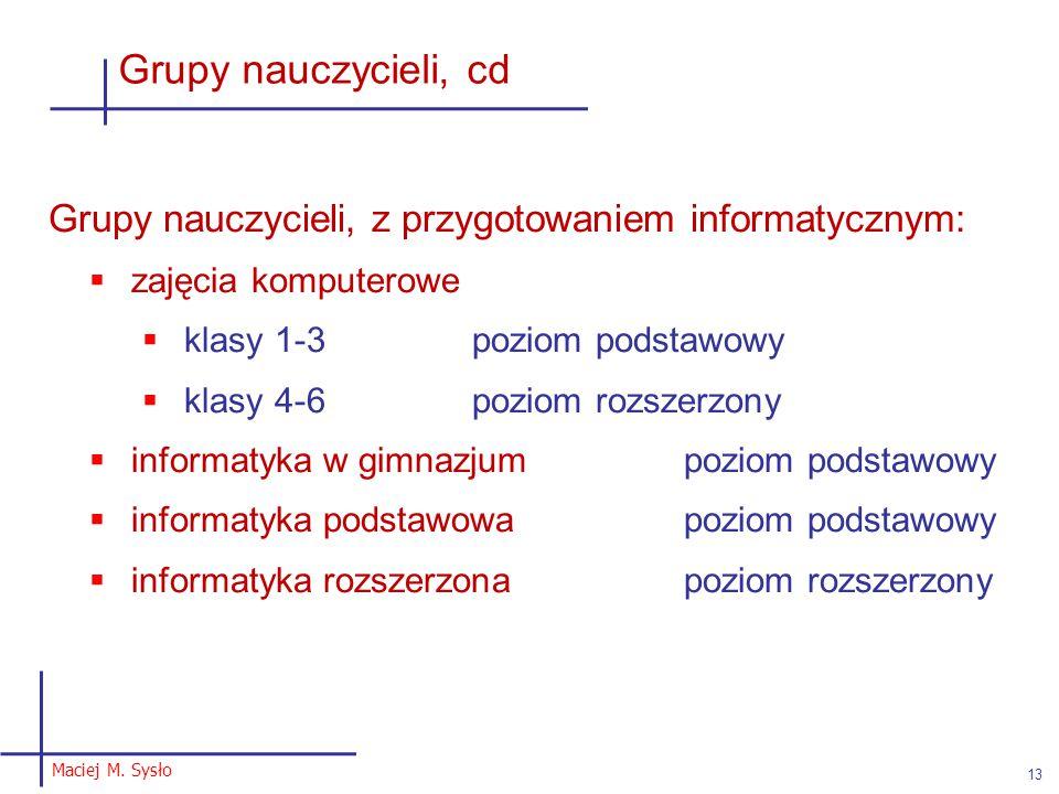 Maciej M. Sysło 13 Grupy nauczycieli, cd Grupy nauczycieli, z przygotowaniem informatycznym:  zajęcia komputerowe  klasy 1-3poziom podstawowy  klas