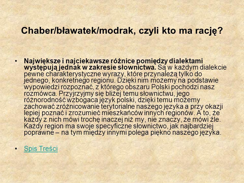Chaber/bławatek/modrak, czyli kto ma rację? Największe i najciekawsze różnice pomiędzy dialektami występują jednak w zakresie słownictwa. Są w każdym