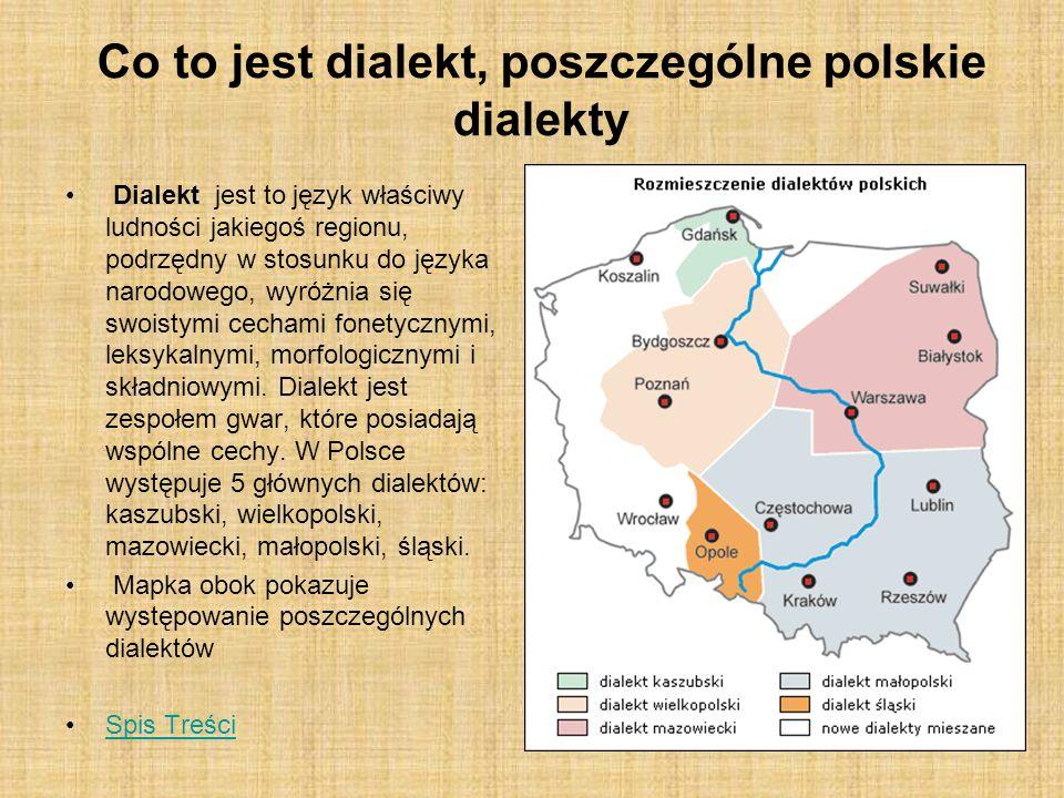 Różnice pomiędzy dialektami Czym głównie charakteryzują się poszczególne dialekty i co je od siebie odróżnia.