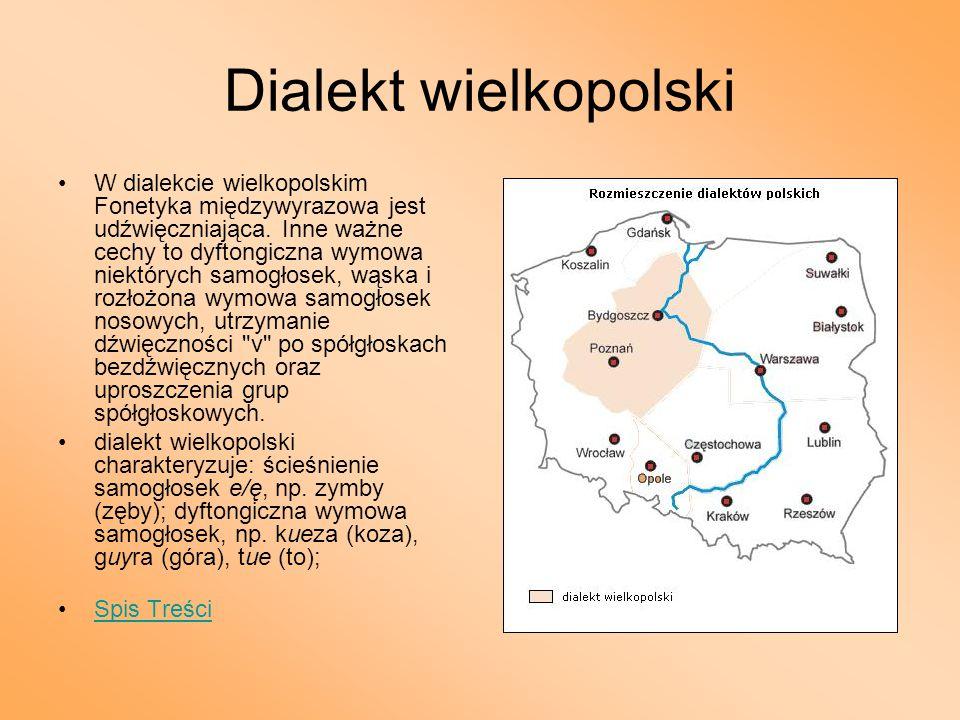 Dialekt wielkopolski W dialekcie wielkopolskim Fonetyka międzywyrazowa jest udźwięczniająca. Inne ważne cechy to dyftongiczna wymowa niektórych samogł