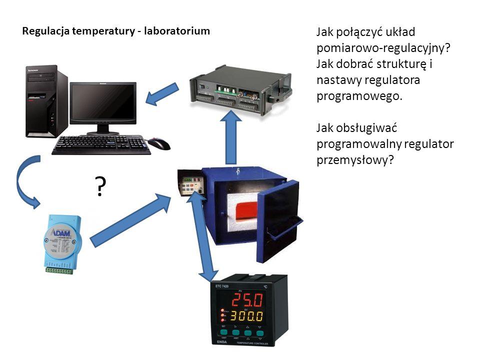 Regulacja temperatury - laboratorium Jak połączyć układ pomiarowo-regulacyjny? Jak dobrać strukturę i nastawy regulatora programowego. Jak obsługiwać