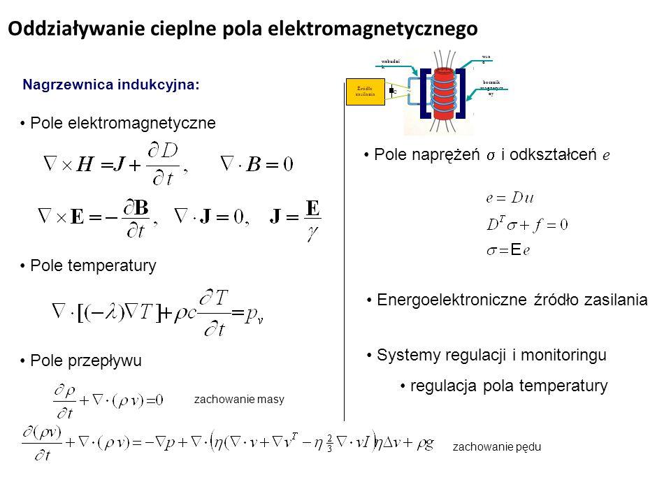 Oddziaływanie cieplne pola elektromagnetycznego Nagrzewnica indukcyjna: wzbudnik wsa d wzbudni k bocznik magnetycz ny Źródło zasilania C Pole elektromagnetyczne Pole temperatury Pole przepływu zachowanie masy zachowanie pędu Pole naprężeń  i odkształceń e Energoelektroniczne źródło zasilania Systemy regulacji i monitoringu regulacja pola temperatury