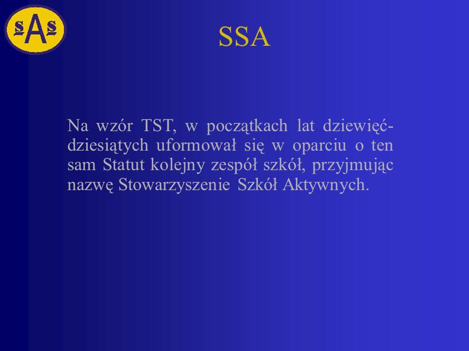 SSA Na wzór TST, w początkach lat dziewięć- dziesiątych uformował się w oparciu o ten sam Statut kolejny zespół szkół, przyjmując nazwę Stowarzyszenie Szkół Aktywnych.