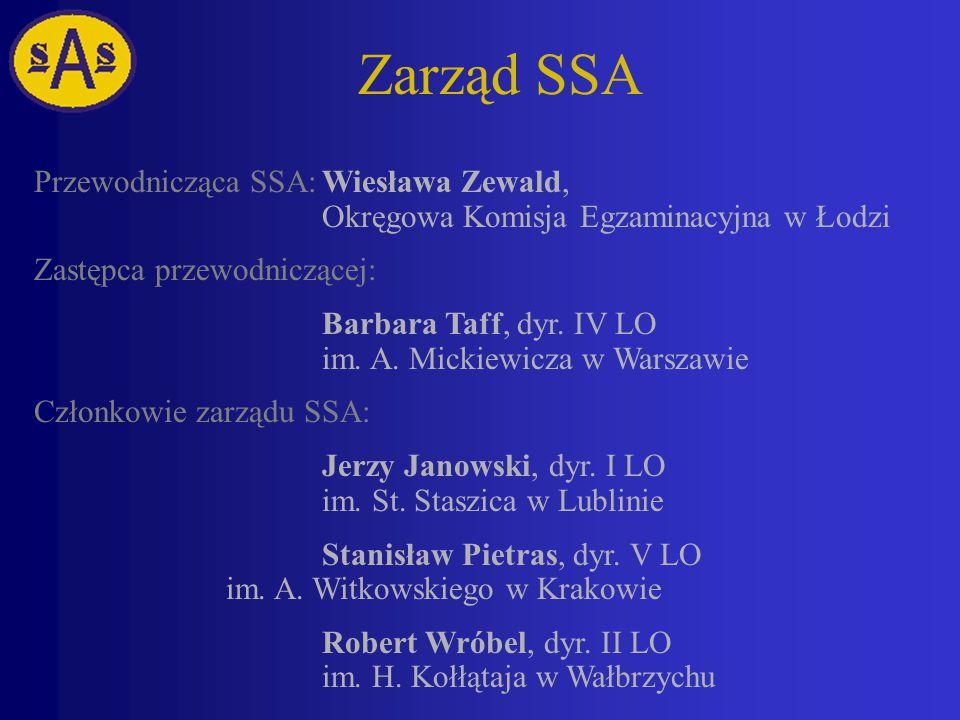 Zarząd SSA Przewodnicząca SSA:Wiesława Zewald, Okręgowa Komisja Egzaminacyjna w Łodzi Zastępca przewodniczącej: Barbara Taff, dyr.