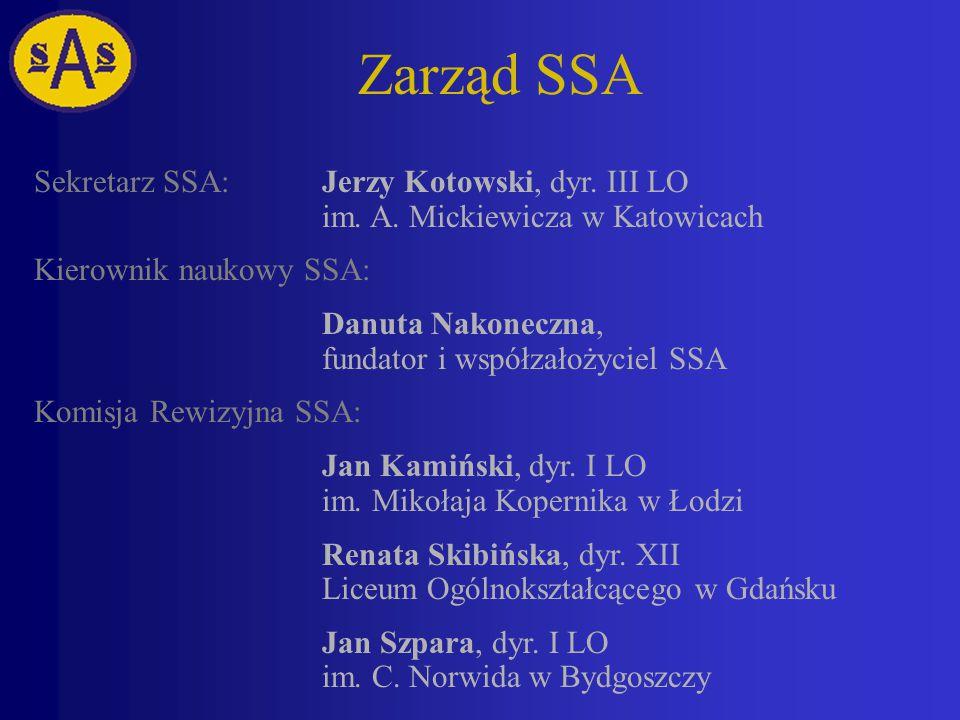 Zarząd SSA Sekretarz SSA:Jerzy Kotowski, dyr.III LO im.