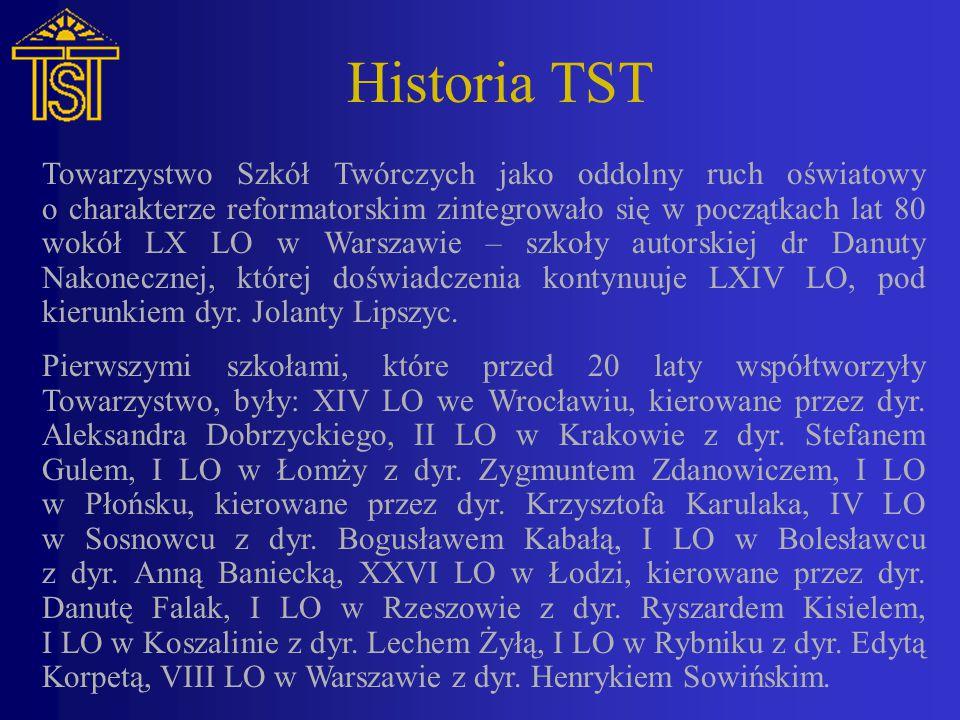 Historia TST Towarzystwo Szkół Twórczych jako oddolny ruch oświatowy o charakterze reformatorskim zintegrowało się w początkach lat 80 wokół LX LO w Warszawie – szkoły autorskiej dr Danuty Nakonecznej, której doświadczenia kontynuuje LXIV LO, pod kierunkiem dyr.