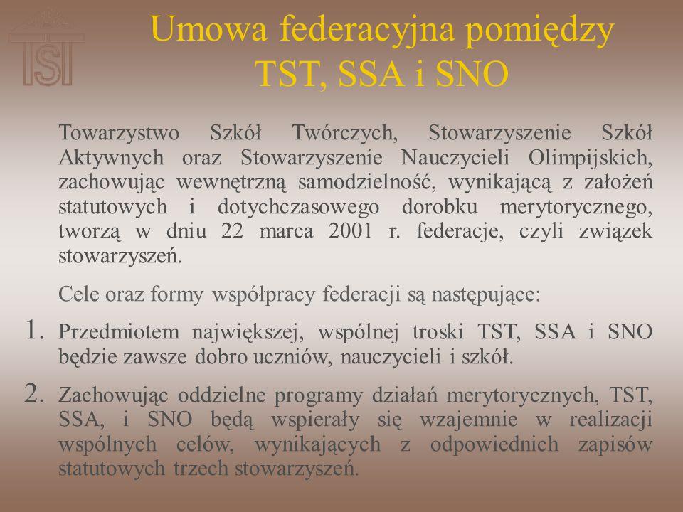 Towarzystwo Szkół Twórczych, Stowarzyszenie Szkół Aktywnych oraz Stowarzyszenie Nauczycieli Olimpijskich, zachowując wewnętrzną samodzielność, wynikającą z założeń statutowych i dotychczasowego dorobku merytorycznego, tworzą w dniu 22 marca 2001 r.