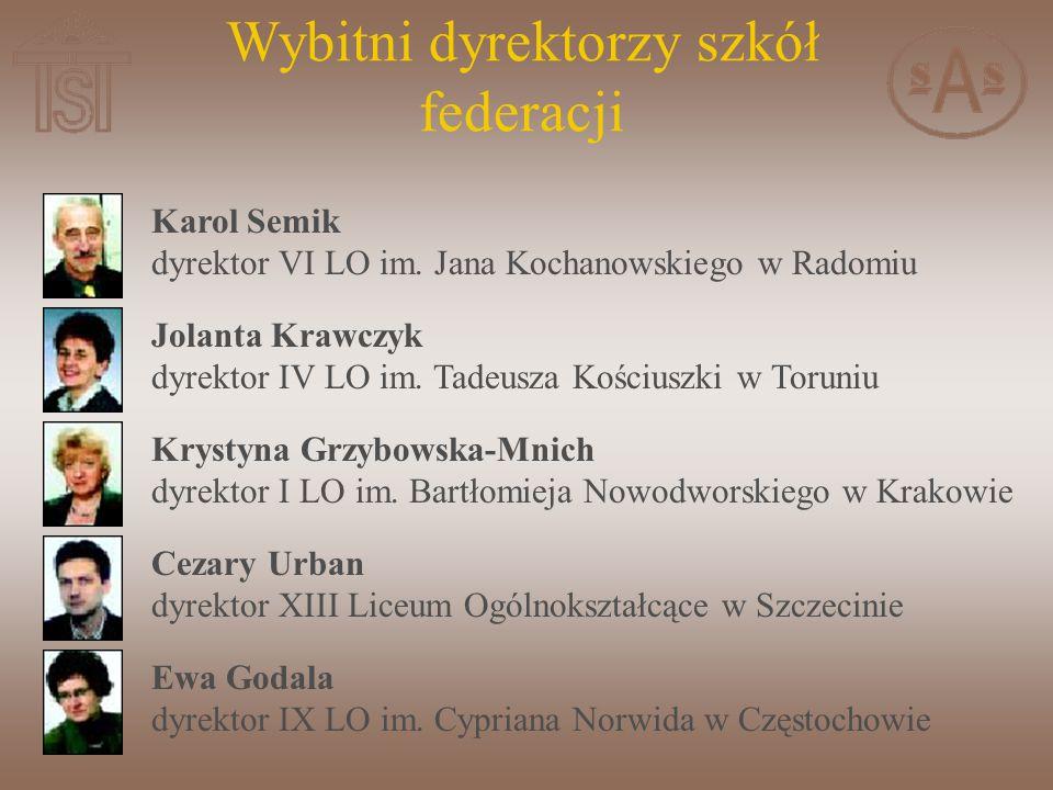 Karol Semik dyrektor VI LO im.Jana Kochanowskiego w Radomiu Jolanta Krawczyk dyrektor IV LO im.