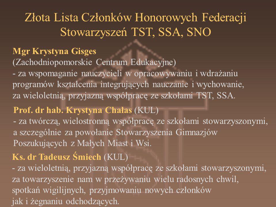 Złota Lista Członków Honorowych Federacji Stowarzyszeń TST, SSA, SNO Mgr Krystyna Gisges (Zachodniopomorskie Centrum Edukacyjne) - za wspomaganie nauczycieli w opracowywaniu i wdrażaniu programów kształcenia integrujących nauczanie i wychowanie, za wieloletnią, przyjazną współpracę ze szkołami TST, SSA.