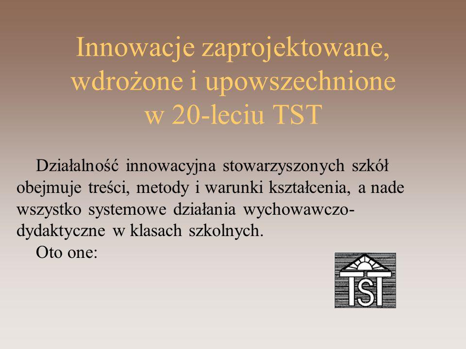 Innowacje zaprojektowane, wdrożone i upowszechnione w 20-leciu TST Działalność innowacyjna stowarzyszonych szkół obejmuje treści, metody i warunki kształcenia, a nade wszystko systemowe działania wychowawczo- dydaktyczne w klasach szkolnych.
