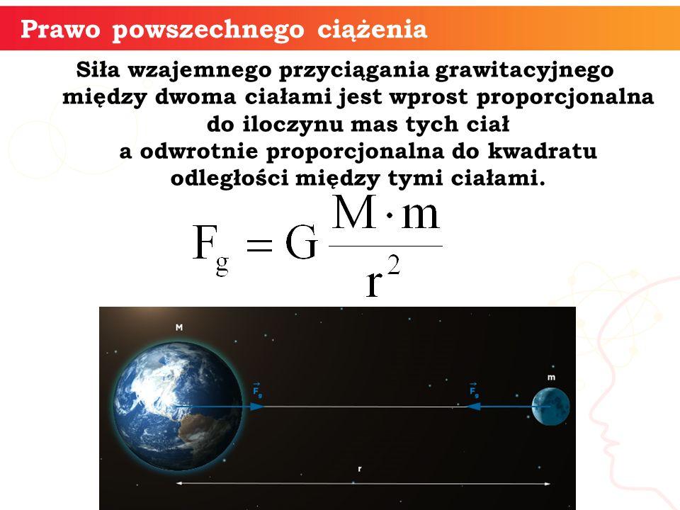 Siła wzajemnego przyciągania grawitacyjnego między dwoma ciałami jest wprost proporcjonalna do iloczynu mas tych ciał a odwrotnie proporcjonalna do kwadratu odległości między tymi ciałami.