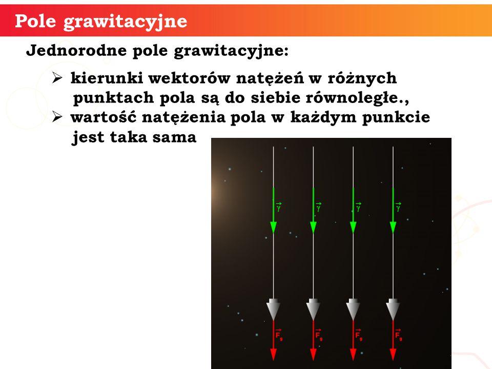 Jednorodne pole grawitacyjne:  kierunki wektorów natężeń w różnych punktach pola są do siebie równoległe.,  wartość natężenia pola w każdym punkcie