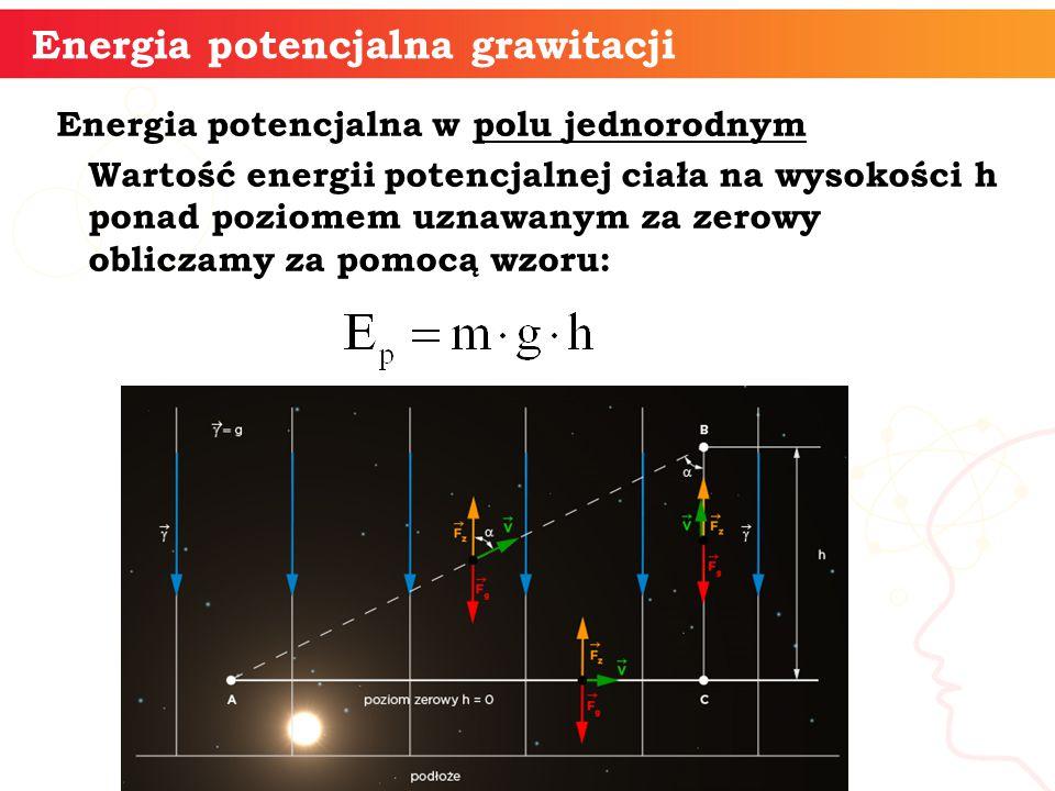 Energia potencjalna w polu jednorodnym Wartość energii potencjalnej ciała na wysokości h ponad poziomem uznawanym za zerowy obliczamy za pomocą wzoru: Energia potencjalna grawitacji