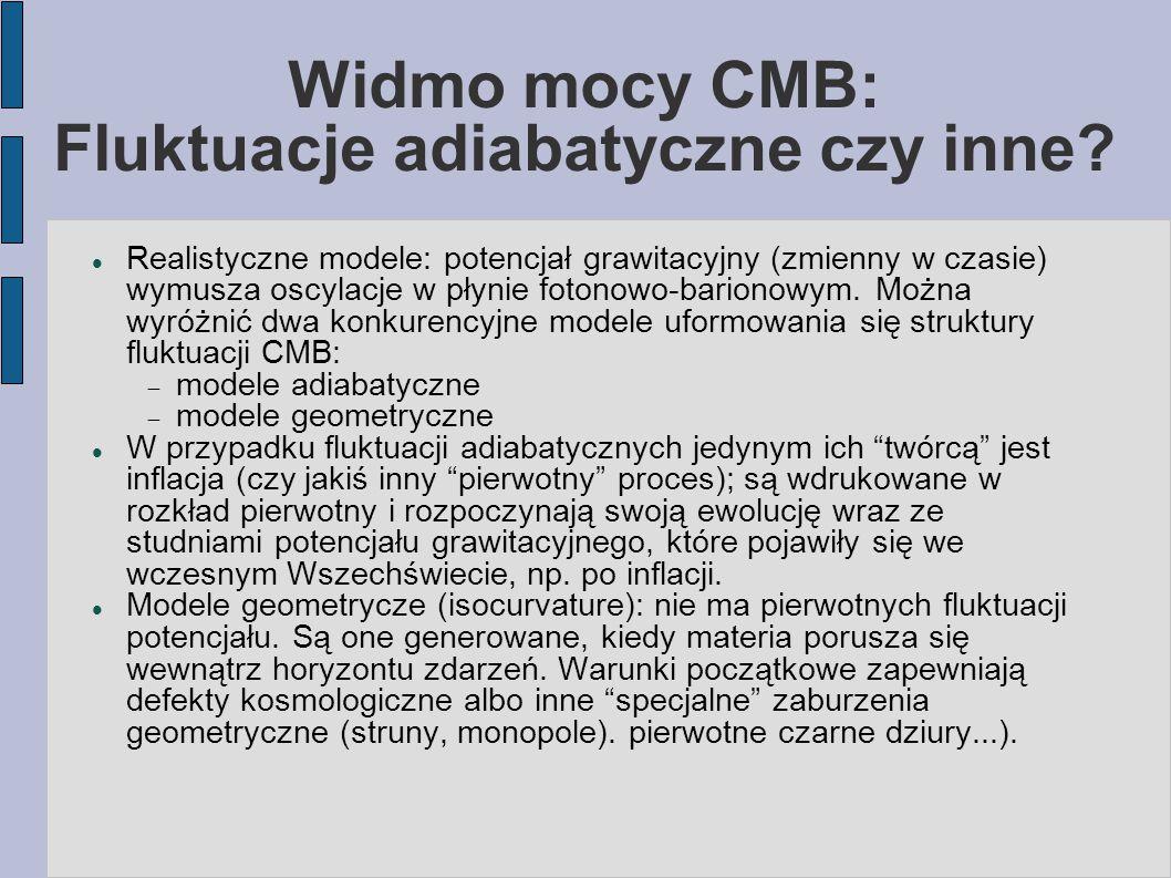 Widmo mocy CMB: Fluktuacje adiabatyczne czy inne.