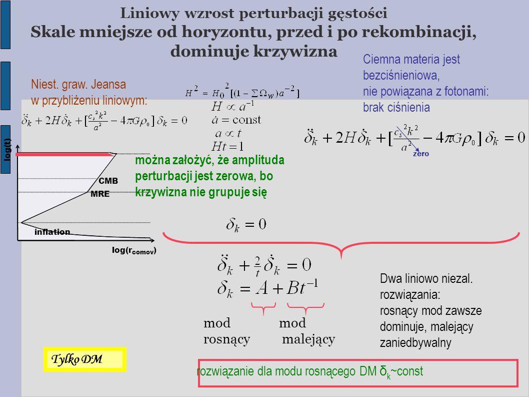 mod rosnący malejący zero można założyć, że amplituda perturbacji jest zerowa, bo krzywizna nie grupuje się Ciemna materia jest bezciśnieniowa, nie powiązana z fotonami: brak ciśnienia Niest.