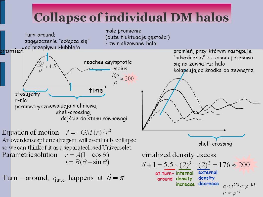 Collapse of individual DM halos time promień turn-around; zagęszczenie odłącza się od przepływu Hubble a reaches asymptotic radius stosujemy r-nia parametryczne ewolucja nieliniowa, shell-crossing, dojście do stanu równowagi małe promienie (duże fluktuacje gęstości)  - zwirializowane halo shell-crossing promień, przy którym następuje odwrócenie z czasem przesuwa się na zewnątrz; halo kolapsują od środka do zewnątrz.