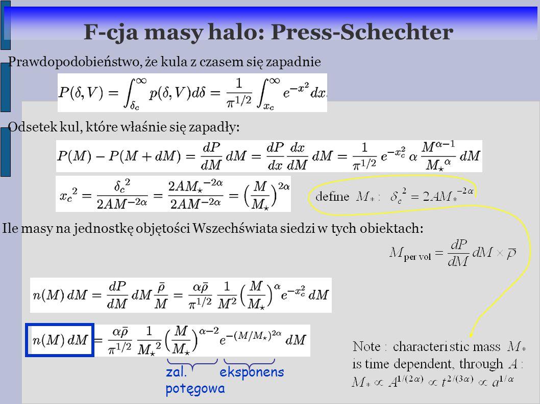 Prawdopodobieństwo, że kula z czasem się zapadnie Odsetek kul, które właśnie się zapadły: F-cja masy halo: Press-Schechter Ile masy na jednostkę objętości Wszechświata siedzi w tych obiektach: zal.