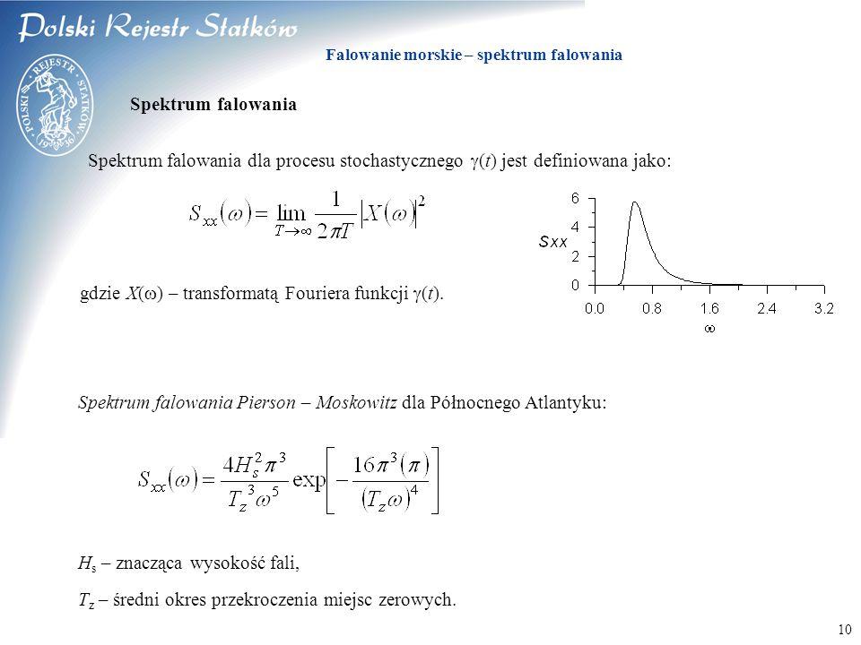© 2003 PRS S.A. Falowanie morskie – spektrum falowania 10 Spektrum falowania dla procesu stochastycznego  (t) jest definiowana jako: Spektrum falowan