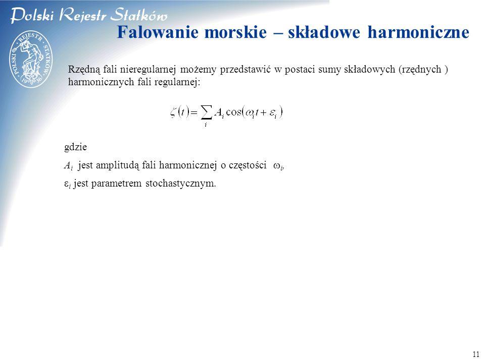© 2003 PRS S.A. 11 Falowanie morskie – składowe harmoniczne Rzędną fali nieregularnej możemy przedstawić w postaci sumy składowych (rzędnych ) harmoni