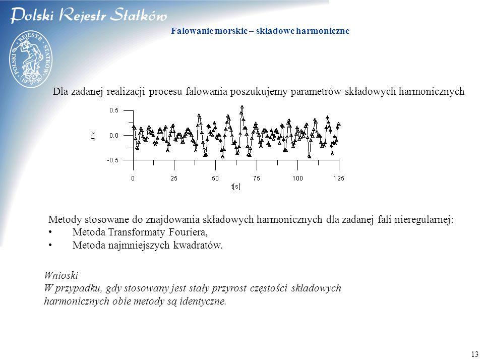 © 2003 PRS S.A. Falowanie morskie – składowe harmoniczne 13 Dla zadanej realizacji procesu falowania poszukujemy parametrów składowych harmonicznych M