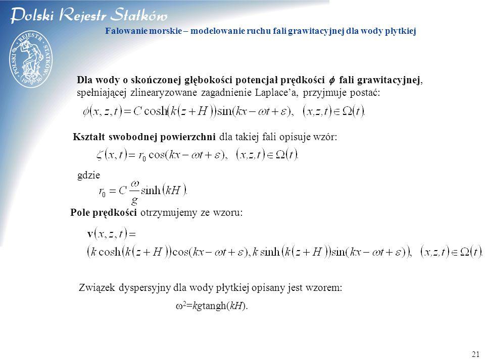 © 2003 PRS S.A. 21 Falowanie morskie – modelowanie ruchu fali grawitacyjnej dla wody płytkiej Dla wody o skończonej głębokości potencjał prędkości  f