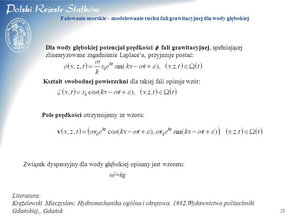 © 2003 PRS S.A. 23 Falowanie morskie – modelowanie ruchu fali grawitacyjnej dla wody głębokiej Dla wody głębokiej potencjał prędkości  fali grawitacy