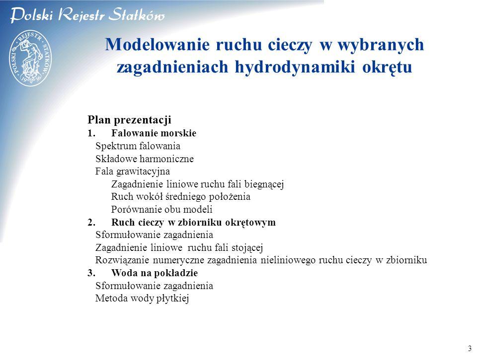 © 2003 PRS S.A. 3 Modelowanie ruchu cieczy w wybranych zagadnieniach hydrodynamiki okrętu Plan prezentacji 1.Falowanie morskie Spektrum falowania Skła