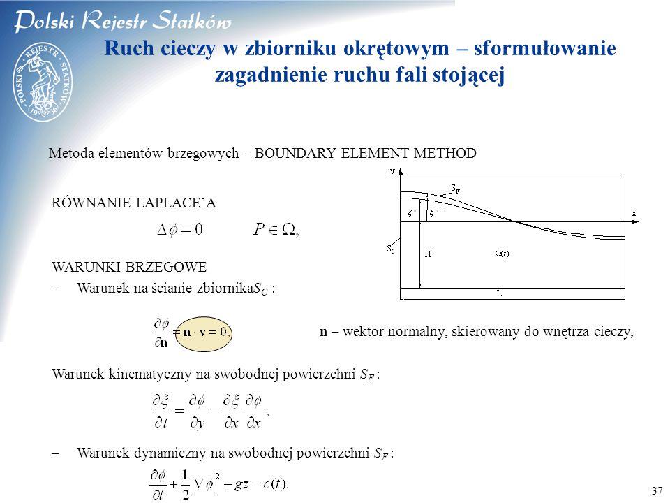 © 2003 PRS S.A. 37 Metoda elementów brzegowych – BOUNDARY ELEMENT METHOD RÓWNANIE LAPLACE'A WARUNKI BRZEGOWE –Warunek na ścianie zbiornikaS C : n – we