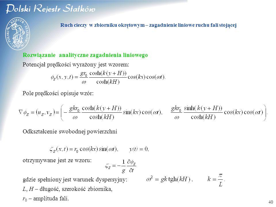 © 2003 PRS S.A. 40 Rozwiązanie analityczne zagadnienia liniowego Potencjał prędkości wyrażony jest wzorem: Pole prędkości opisuje wzór: Odkształcenie