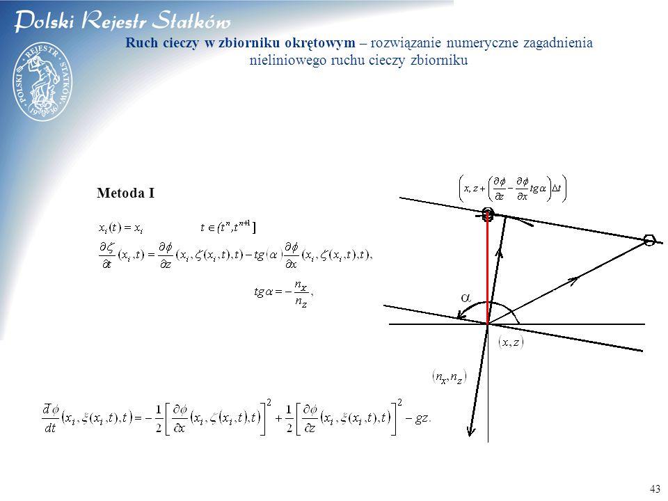 © 2003 PRS S.A. 43 Metoda I Ruch cieczy w zbiorniku okrętowym – rozwiązanie numeryczne zagadnienia nieliniowego ruchu cieczy zbiorniku
