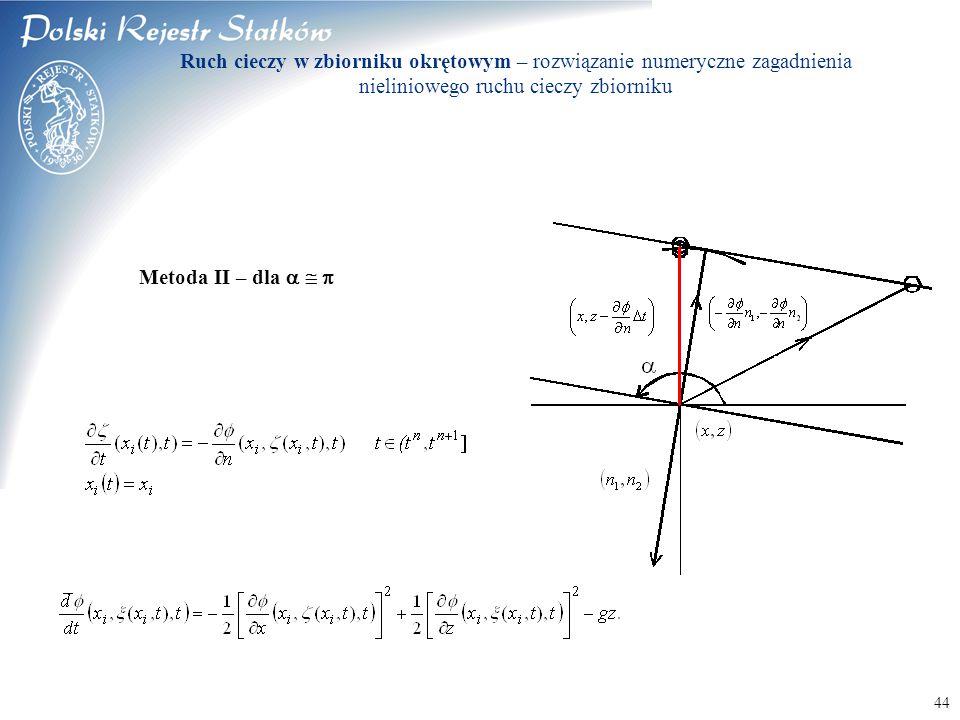 © 2003 PRS S.A. 44 Metoda II – dla    Ruch cieczy w zbiorniku okrętowym – rozwiązanie numeryczne zagadnienia nieliniowego ruchu cieczy zbiorniku