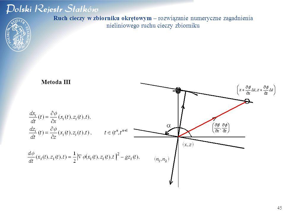 © 2003 PRS S.A. 45 Metoda III Ruch cieczy w zbiorniku okrętowym – rozwiązanie numeryczne zagadnienia nieliniowego ruchu cieczy zbiorniku