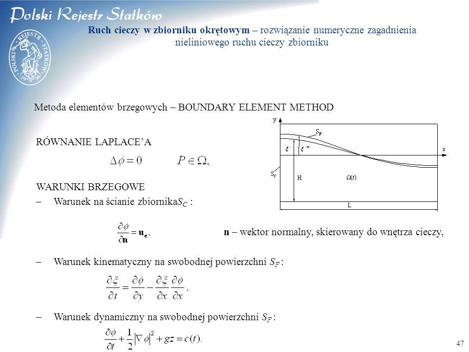 © 2003 PRS S.A. 47 Metoda elementów brzegowych – BOUNDARY ELEMENT METHOD RÓWNANIE LAPLACE'A WARUNKI BRZEGOWE –Warunek na ścianie zbiornikaS C : n – we