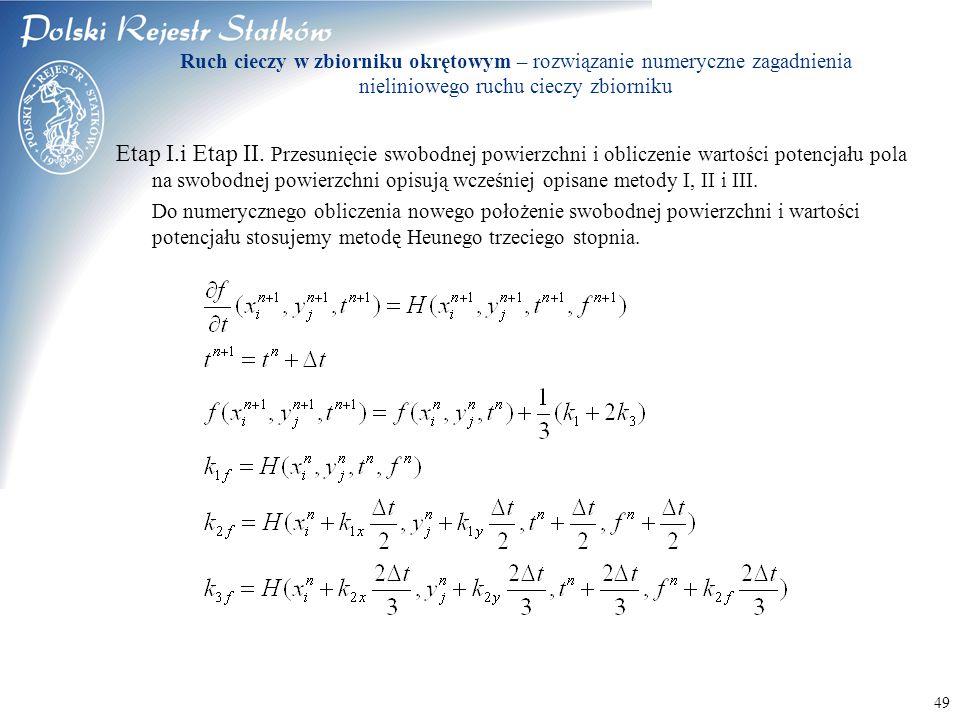 © 2003 PRS S.A. 49 Ruch cieczy w zbiorniku okrętowym – rozwiązanie numeryczne zagadnienia nieliniowego ruchu cieczy zbiorniku Etap I.i Etap II. Przesu