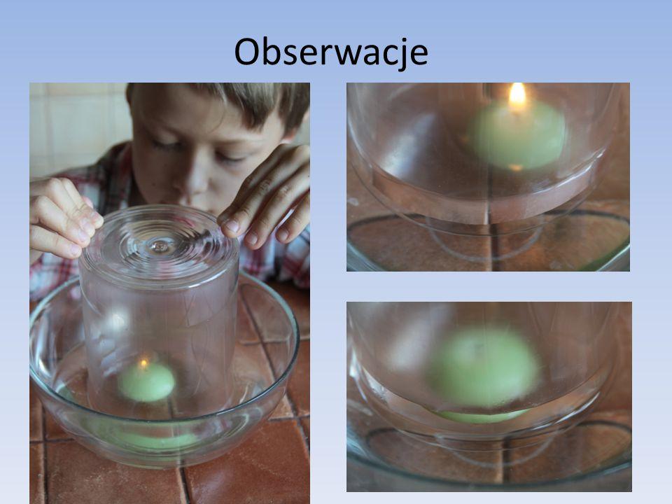 Obserwacje Po kilku sekundach świeca gaśnie. Oznacza to, że został wykorzystany cały tlen znajdujący się w powietrzu wypełniającym pojemnik. Do szklan