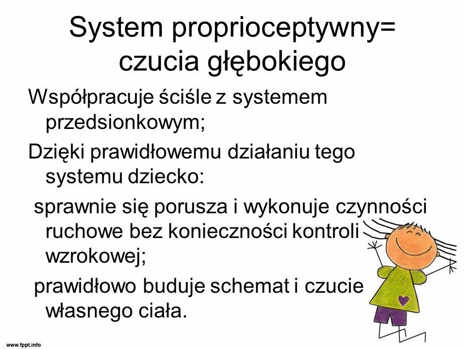 System proprioceptywny= czucia głębokiego Współpracuje ściśle z systemem przedsionkowym; Dzięki prawidłowemu działaniu tego systemu dziecko: sprawnie się porusza i wykonuje czynności ruchowe bez konieczności kontroli wzrokowej; prawidłowo buduje schemat i czucie własnego ciała.