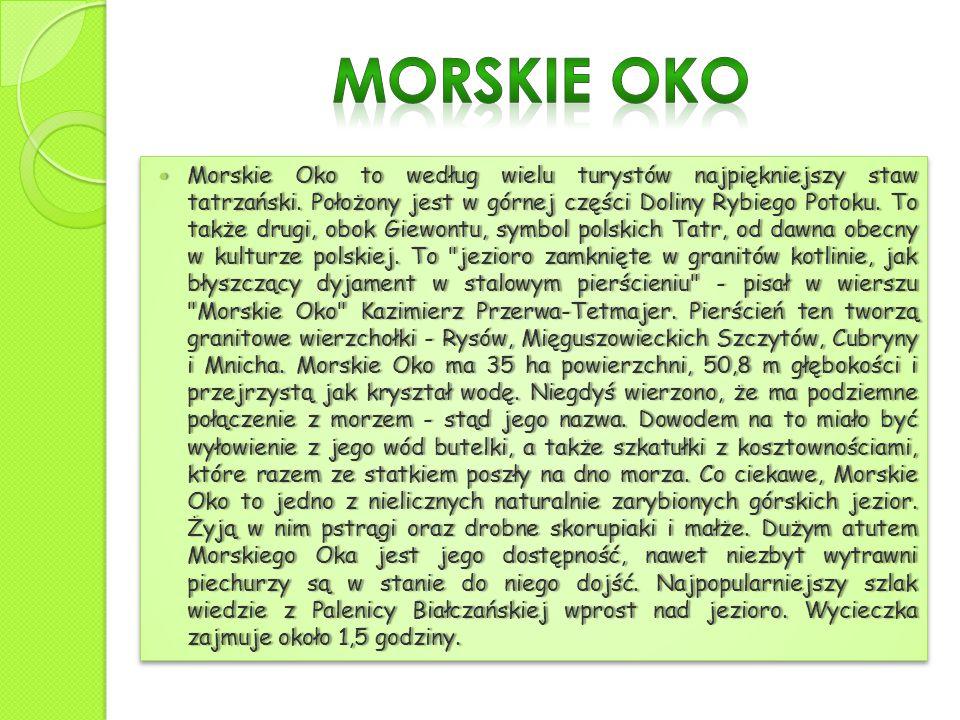 Morskie Oko to według wielu turystów najpiękniejszy staw tatrzański. Położony jest w górnej części Doliny Rybiego Potoku. To także drugi, obok Giewont