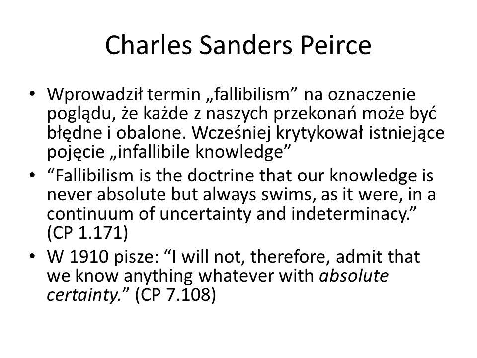 """Charles Sanders Peirce Wprowadził termin """"fallibilism na oznaczenie poglądu, że każde z naszych przekonań może być błędne i obalone."""